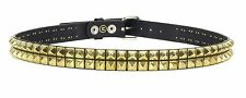 Studded Double Row Gold Stud Leather Belt Punk, Metal,Thrash, UK Style, Rock