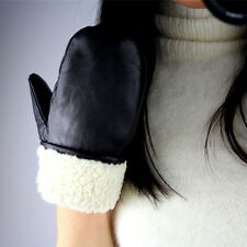 Real Leather Unisex Gloves Wrist Long Black Mittens Mitts Patch Faux Shearling
