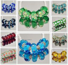 5p and 10P MURANO GLASS BEAD LAMPWORK fit European Charm Bracelet a135-262