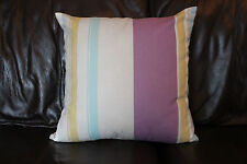 Cushion cover Handmade Lilac turquoise mustard & white stripes on beige