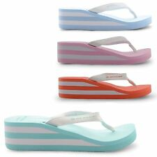 NEW LADIES DUNLOP TOE POST PLATFORM SUMMER WEDGE SANDALS FLIP FLOPS SIZE UK 3-8