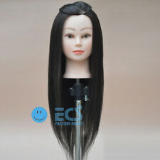 "NEW 25"" S ~ Cosmetology Salon Long Black Real Hair Training Human Head Mannequin"