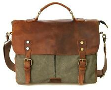 Men's Women Retro Canvas Genuine Leather Messenger Bags Briefcases Business Bag