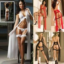 Adult Sexy Lingerie Women White/Black/Red Robe Bride Honeymoon Sleepwear Dress M