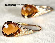 18K Rose Gold GP Swarovski Fashion Jewelry Champagne Pear-shaped Earring ER013 X