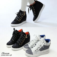 NWT Womens hidden heel high top tennis fashion shoes sneakers WHITE/BLACK sz 6-8