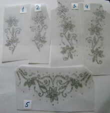 TRIM / CRYSTAL FLOWER DESIGN RHINESTONE IRON ON APPLIQUE / HOT FIX TRANSFER