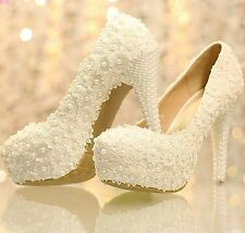 Elegant Lace Womem's Wedding Bridal Shoes Prom Party Heels Shoes with Pearls