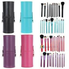 12pcs Pro Cosmetic Makeup Brush Set Make up Tool + Leather Cup Holder Kits SS