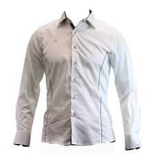 TR Premium Men's TR-570 Slim Fit Contrast Trim White Button Down Dress Shirt