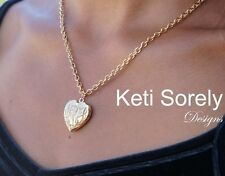 Hand Engraved Heart Locket Necklace with Monogrammed Initials - 24K Gold Overlay