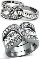 2 Band Wedding Ring Set Baguette Crystal Stainless Steel Silver Engagement