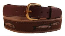 ZEP-PRO Embroidered Leather Canvas RAINBOW TROUT Ribbon Belt  NWT select size
