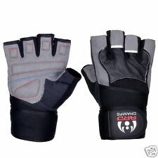 WEIGHT LIFTING GLOVES GYM POWER TRAINING GLOVES AMARA LEATHER LONG WRIST STRAP