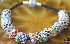 Glitter Swarovski Elements CHARM Pave Sterling Silver BirthStones Spacer Bead