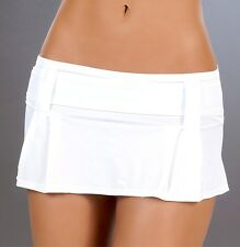 New 5006 White PLEATED DANCE ROLLER MICRO MINI Short SKIRT RAVE Sexy S M L