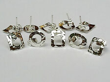 Sterling .925 Taxco Silver Mexican Earrings - Hammered Design
