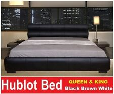 ITALIAN DESIGN HUBLOT QUEEN KING SIZE BLACK BROWN WHITE PU LEATHER BED FRAME