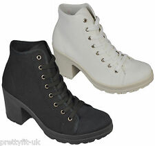 Womens Ladies Canvas Lace Up Chunky Platform High Wedge Heel Ankle Boots Shoes