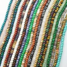 Strand Of Mixed Gemstone Rondelle Loose Bead 15.5 inch