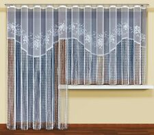 Modern long/short string curtains ready to hang up WHITE with curtain tape!