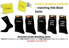 Nevision YELLOW Cufflinks + Socks Set. GROOM, BEST MAN, USHER  - WEDDING SET