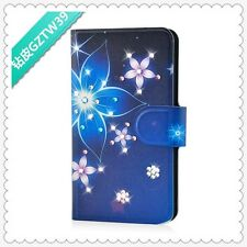Diamond Purple and Blue Flower flip PU leather case cover for Lenovo