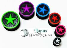 NEW PAIR EAR PLUG BLACK SILICONE W/ COLOR STAR TUNNEL DOUBLE FLARED FLESH LUNAS