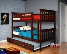 TWIN OVER TWIN BUNK BED W/ TRUNDLE OR TENT - CAPPUCCINO