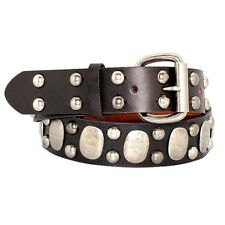 90060-BRN-Unisex Punk Antique Silver Studded Dark Brown Full grain Leather Belt