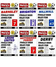 PERSONALISED CHAMPIONSHIP SPOOF NEWSPAPER FOOTBALL BIRTHDAY CARD - VARIOUS CARDS