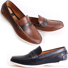 New Polytec Penny Loafer Classic Casual Dress Mens Comfort Shoes Navy Brown Nova