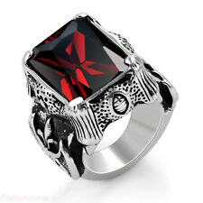Vintage Stainless Steel Band Red Cubic Zirconia Dragon Claw Men's Ring Love Gift