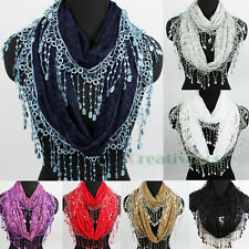 Women Fashion Floral Lace Chic Long Tassel Infinity Loop Circle Scarf Lady Shawl