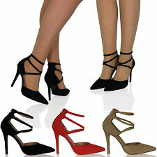 L1C Womens Shoes Ladies High Heels Strappy Pointed Toe Zip Ups Office Work Size