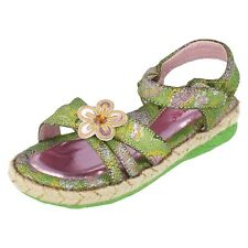 Girls 610HT-6A Green Flowered riptape  fastening sandals By  Jimei