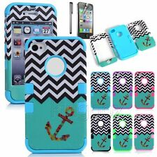 Anchor Waves Matte Pattern Hybrid Silicone Shockproof Hard Case Cover For iPhone