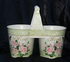 DOUBLE PLANTER FLORAL FRENCH VINTAGE STYLE METAL WITH PAPER TRANSFER WOOD HANDLE