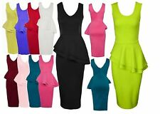WOMEN SLEEVELES SIDE FRILL PEPLUM LADIES BODYCON KNEE LENGTH MIDI DRESS8-26