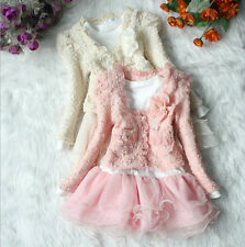 Tutu Lace Dress Baby Girls Kid Pearl Flower Jacket Cardigan Top +Dress Outfit