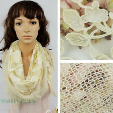 Fashion Women Burnt-out Shiny Leaf Lace Stitching Knit Triangle Scarf Shawl Wrap