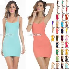 Women Stretchy Camisole Spaghetti Strap Long Tank Top Layering Mini Dress S,M,L