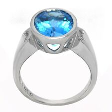 De Buman 6.1ctw Genuine Swiss Blue and White Topaz Sterling Silver Ring