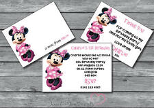 Minnie Mouse Personalised Invite /Thank You Card / Note 12 with envelopes