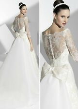 Wholesale A Line 3/4 Sleeves Lace Wedding Dress With Detached Train
