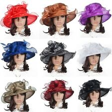 Women Kentucky Derby Church Christening Wedding Satin Formal Flat Hat SS035