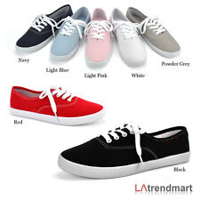 Women Round Toe Sneakers Casual Canvas Athletic Lace Up Rubber Flat Soda Bigeye