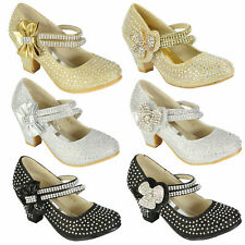 GIRLS CHILDREN LOW HEEL PARTY MARY JANE STYLE VELCRO DIAMANTE SANDALS SHOES SIZE