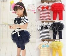 Girls Kids 2 Pcs Outfit Sets T-shirt Skirt Top+ Tutu Leggings Pants Dress Sz 2-7