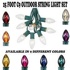 25 Foot C9 Outdoor Patio Christmas String Light Set - Green Wire - 25 Bulb Set